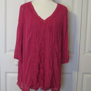 Krazy Kat Pink Soft Blouse ~ Size Large